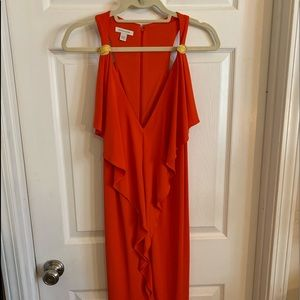 NWOT Coral Dress w Gold details Ruffle down front